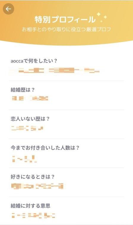 aocca(アオッカ)の特別プロフィール画面